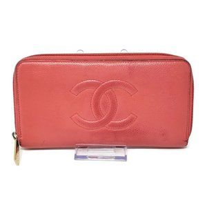 100% Auth Chanel Pink Caviar Zippy Wallet
